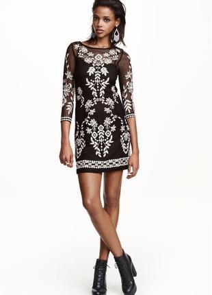Шикарное платье из сеточки с вышивкой, h&m,