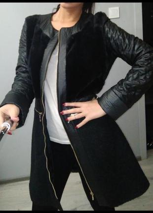 Пальто куртка кожзам мех