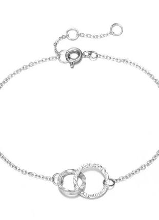 Стильный браслет серебряного цвета с двойным кругом минимализм