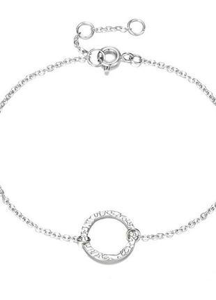 Стильный браслет серебряного цвета с кругом минимализм