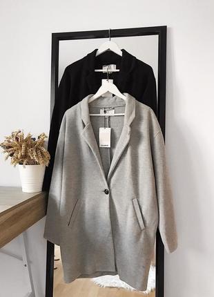📎 серое пальто-халат pull&bear