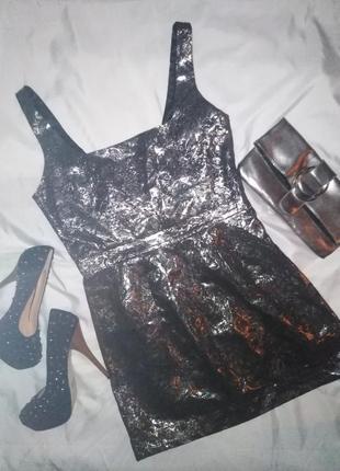 Вечерние мини платье стальное серебро