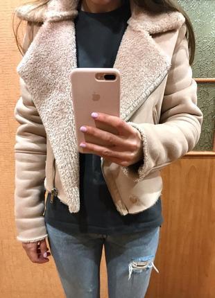 Авиатор дубленка косуха куртка розовая замшевая кожаная bershka