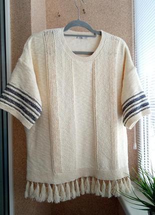 Красивый вязаный свитер /кофточка в стиле бохо из натуральной ткани котон