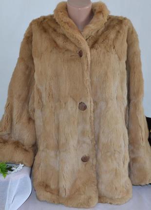 Натуральная мягкая теплая шуба с карманами кролик