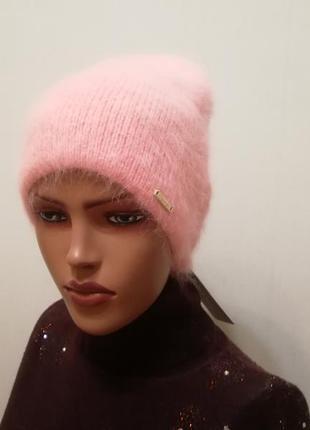 Классная тоненькая тёплая шапка ангора персик