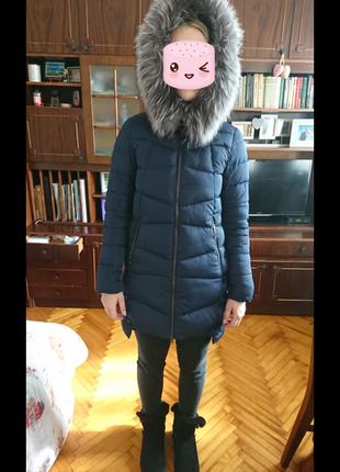 Теплое зимнее пальто пуховик холофайбер мех натуральный песецs-m