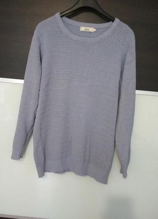 Голубой котоновый джемпер,свитер,пуловер zizzi
