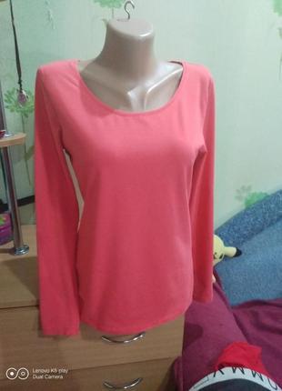 Отличный базовый коралловый лонгслив, рубашка, кофта s-m--c&a-
