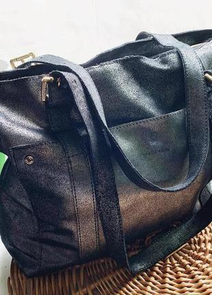 Кожаная сумка с серебристым напылением paul&joe sister
