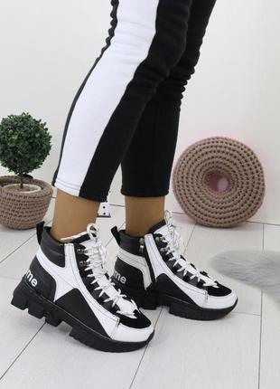 Новые женские зимние черно-белые кроссовки