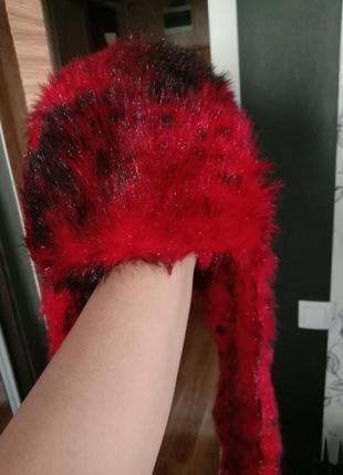 Меховая шапка длинные ушки красный леопард