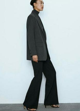 Классический удлинённый серый пиджак жакет прямого кроя блейзер длинный