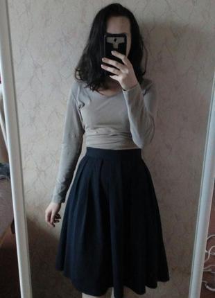 Темно-синяя юбка-солнце спідниця сонце