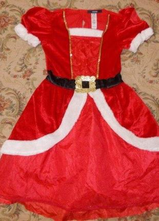 Продам карнавальное платье санта на 7-8 лет 122-128 см