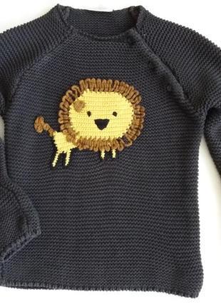 Детский свитер 12-18 мес  , кофта со львом