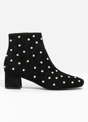& other stories замшевые ботинки с бусинками