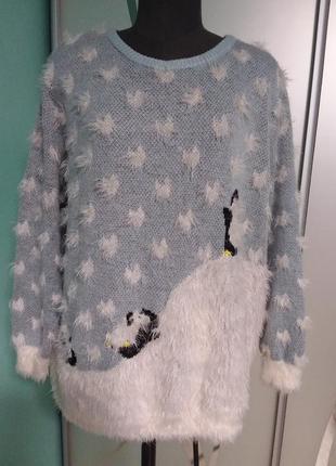 Нежный джемпер с принтом  пингвинчик