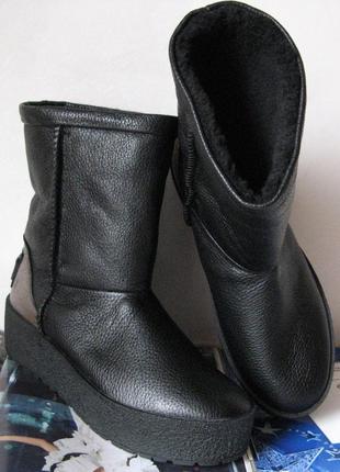 Натуральная кожа угги женские черные marco с теплым натуральным мехом, на толстой подошве