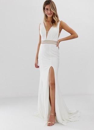 Платье с шлейфом jovani,  размер uk 10