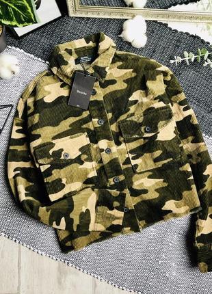 Вельветовая укороченная овер куртка #bershka р-р xs-s