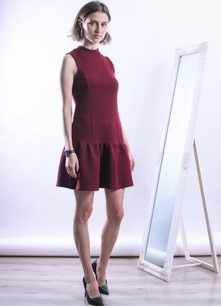 Бордовое платье короткое, нарядное платье пышное, новогоднее платье красное