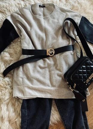 Джемпер с кожаными рукавами от zara