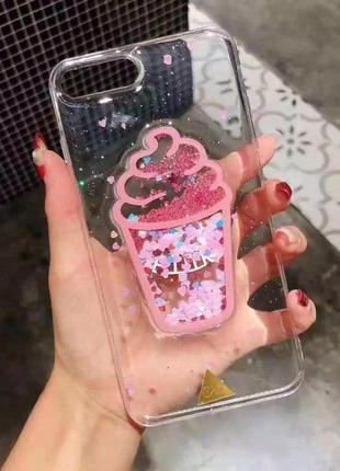 Чехол бампер прозрачный с 3d лого мороженое для iphone