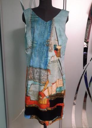 Яркое платье /футляр в необычный принт 14/16 размер