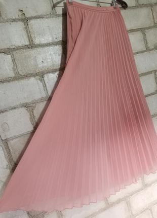 Плиссированная юбка пыльная роза