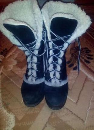 Ботинки зимнее замшевые новые р. 36 внутри овчина, натур. замша