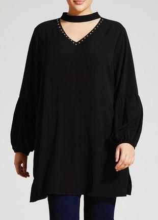 Шикарная блуза туника с чокером размер 24