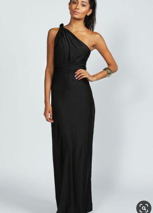 Черное длинное макси платье с оголенной  спиной