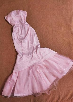 Платье вечернее длинное праздничное новогоднее шикарное фатиновое со шлейфом