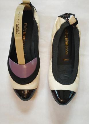 Чёрно-белые классические кожаные балетки в стиле chanel р.34,5, балетки под платье