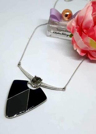 """Классный кулон """"треугольник"""" с серой эмалью и кристаллом на цепочке дания pilgrim"""