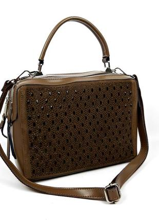 Женская кожаная сумка со вставками замши