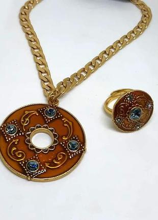 Красивый набор в восточном стиле кольцо и кулон  оранжевая эмаль, кристаллы дания pilgrim
