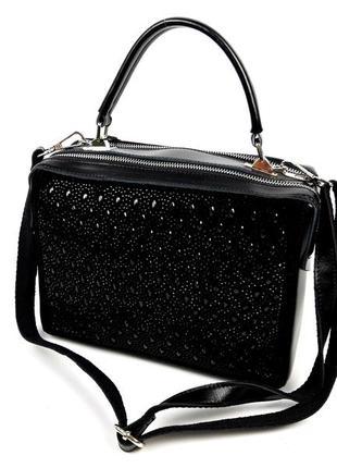 Женская кожаная сумка galanty черного цвета