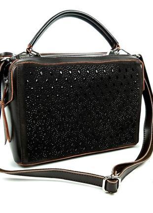 Женская кожаная сумка galanty темно-коричневая (шоколад)