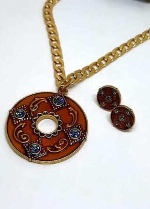Красивый набор в восточном стиле кольцо и серьги оранжевая эмаль, кристаллы дания pilgrim