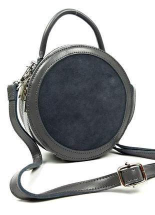 Женская кожаная круглая сумка galanty