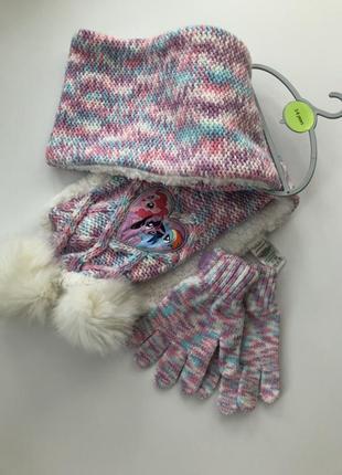 Набор шарф и перчатки 3-6 лет с люрексом