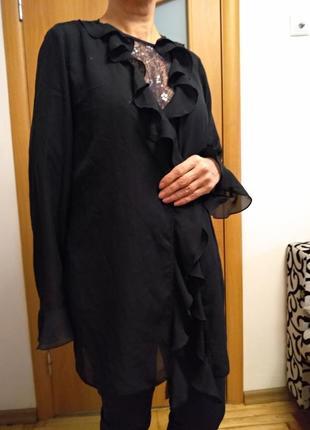 Хорошенький шифоновый  кардиган с воланом. размер 22