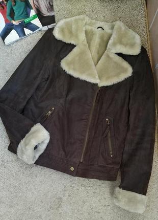 C&a германия крутая куртка дубленка авиатор, косуха /натуральная кожа