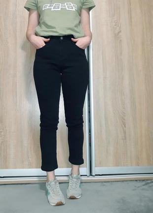 Теплые зимние базовые черные  джинсы на флисе , байке с высокой посадкой  la go go