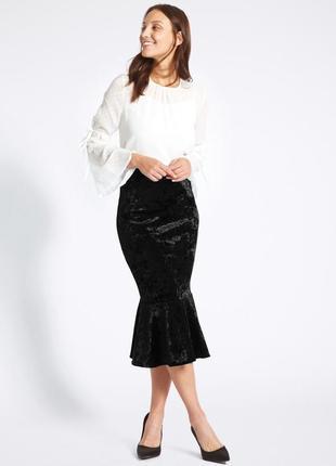Супер батал юбка футляр с воланами бархатная размер 22