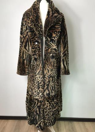 Двубортное меховое длинное пальто шуба двухсторонняя длинная дубленка s/36/8.