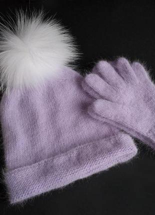 Набор шапка с помпоном из енота и перчатки пух норки