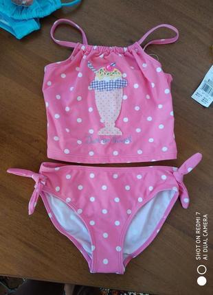 Детский раздельный купальник  для девочки горошок топ